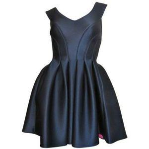 DKNY Black Scuba Neoprene Fit Flare Runway Dress
